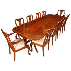 Walnut Dining Set Regency Table and Queen Anne Chairs Suite