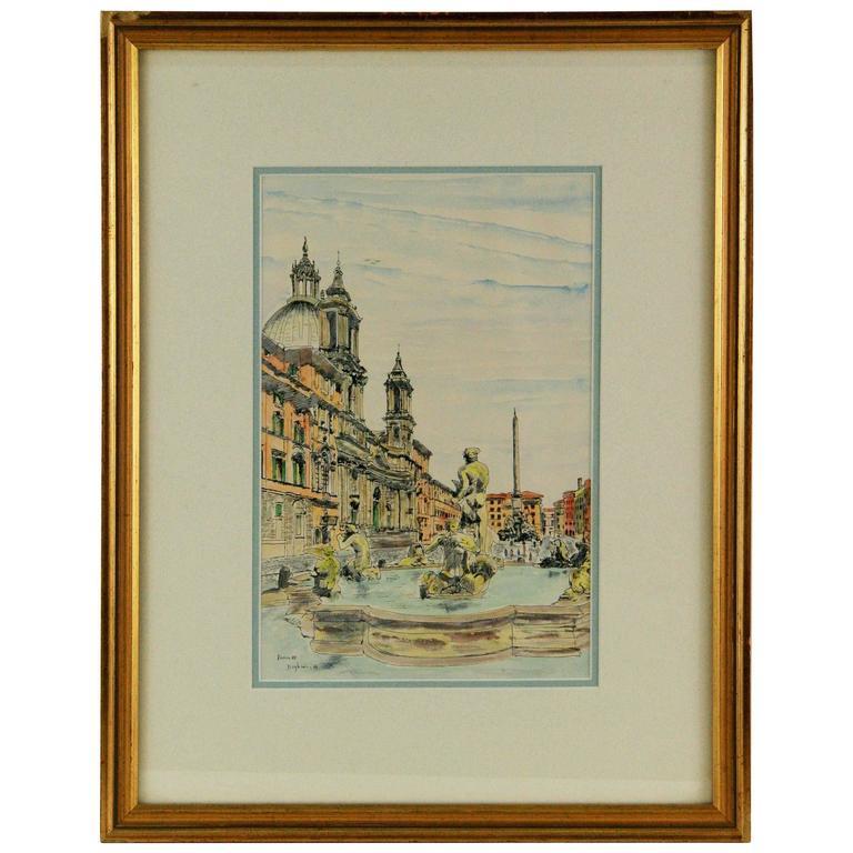 Watercolor Painting -Piazza Navona Bernini Fountain