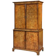 George I Figured Walnut Wardrobe
