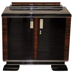 Square Art Deco Commode with Big Chrome Handles