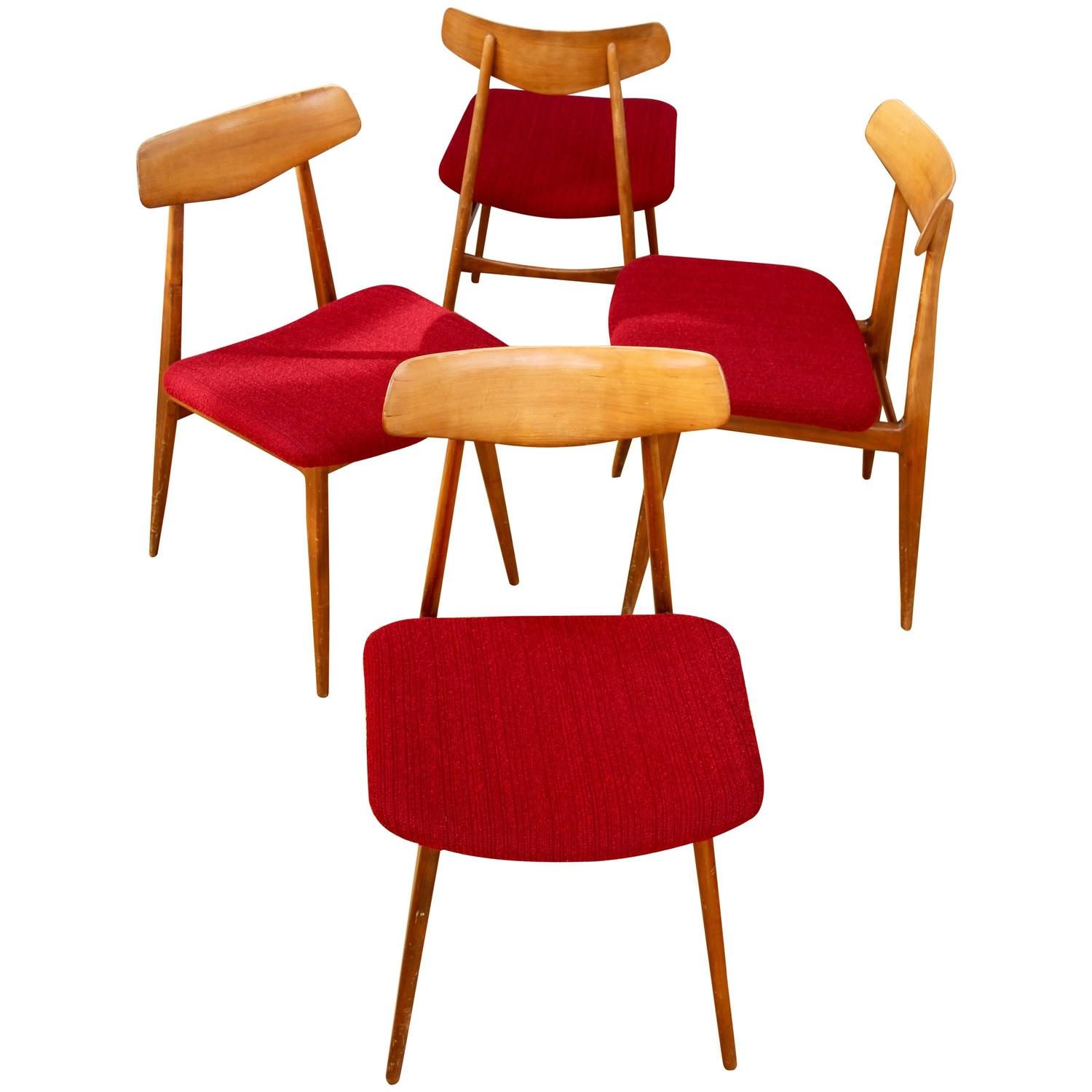 Hans wegner style set of four mid century dining chairs by for Wegner dining chair