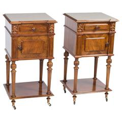 Antique Pair of French Walnut Bedside Cabinets, circa 1880