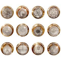 12 Porcelain Plates by Piero Fornasetti