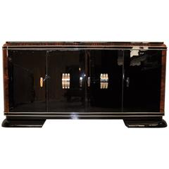 French Art Deco Sideboard with Piano Lacquer and Mahogany Details