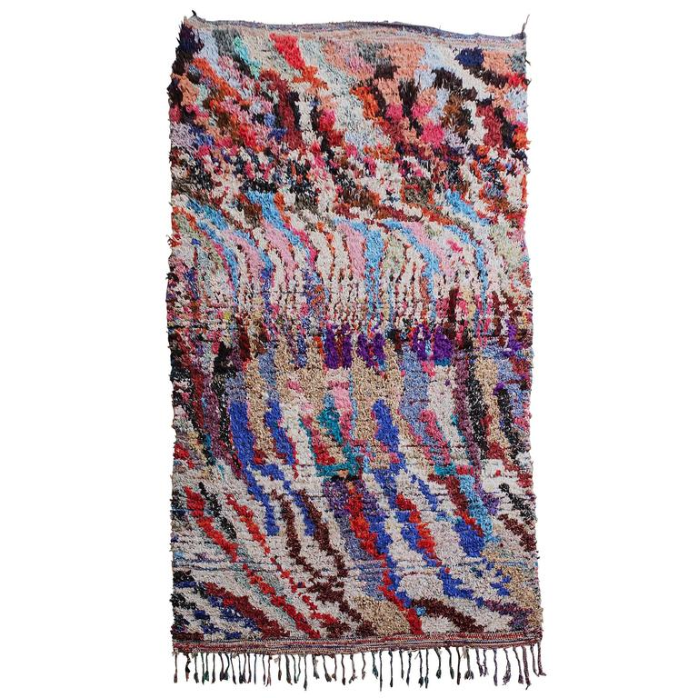 Moroccan Boucherouite Rag Rug For Sale
