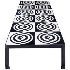 Roberto Rida, Glass and Steel Op Art Large Coffee Table