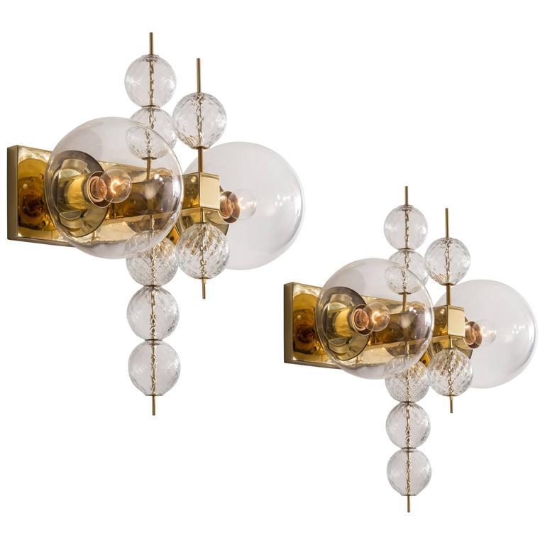 Kamenicky Šenov, Pair of Czech Brass and Handblown Glass Sconces For Sale