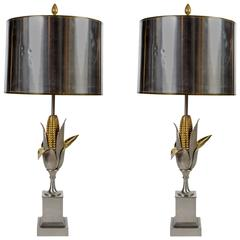 Pair of Maize Bronze Table Lamps by Maison Charles