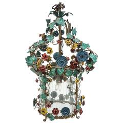 Tole Flower Chandelier with Glass Cylinder