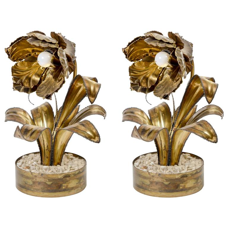 Rare Pair of Vintage Flower Table Lamps by Maison Jansen For Sale