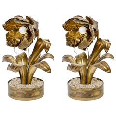 Rare Pair of Vintage Flower Table Lamps by Maison Jansen