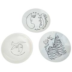 Jean Cocteau Plates  by Promo Ceram and Picasso Plate by ECPLP