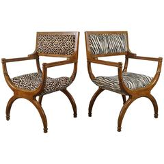 Pair of Empire Style Chairs in Faux Leopard and Zebra