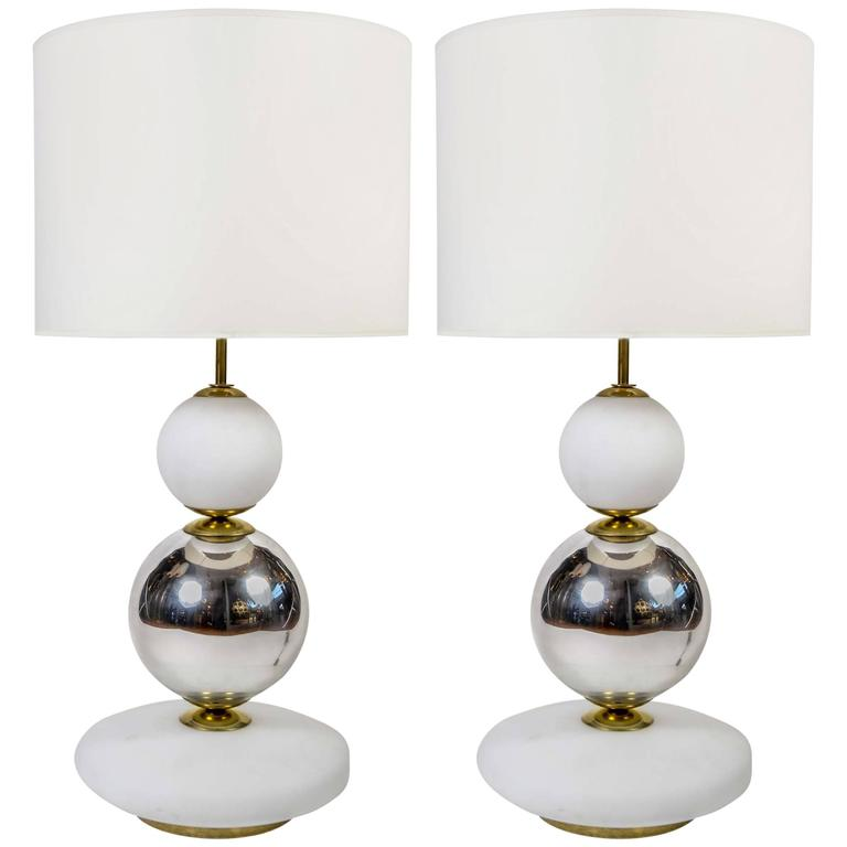 White and Chrome Pair of Glass Table Lamps