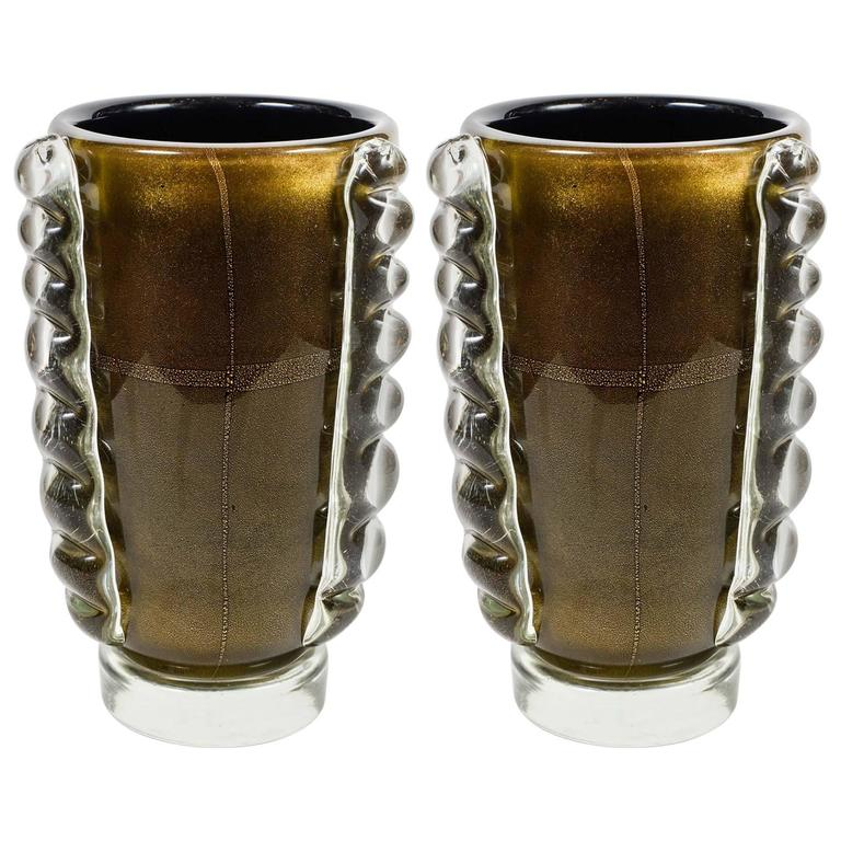 Pair of Signed Murano Glass Vases For Sale