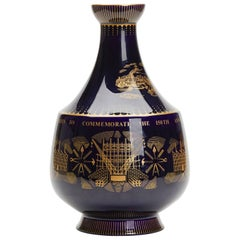 Vintage Royal Doulton Potteries 150th Anniversary Blue Vase, 1965