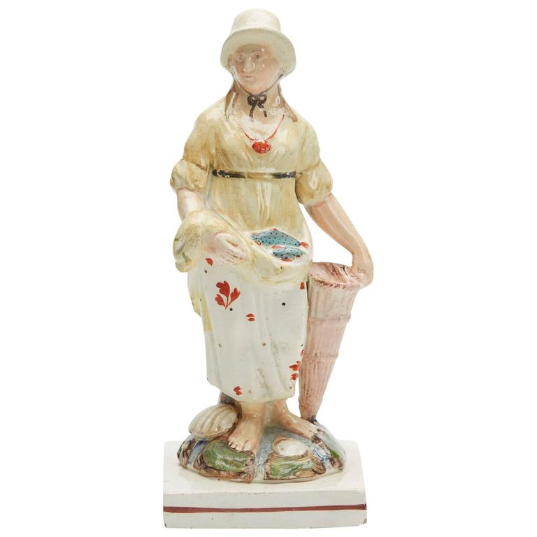 Mother Of Pearl Cream Flower Large Square Decor Vase: Antique English Pearlware Staffs Fishseller, Circa 1790