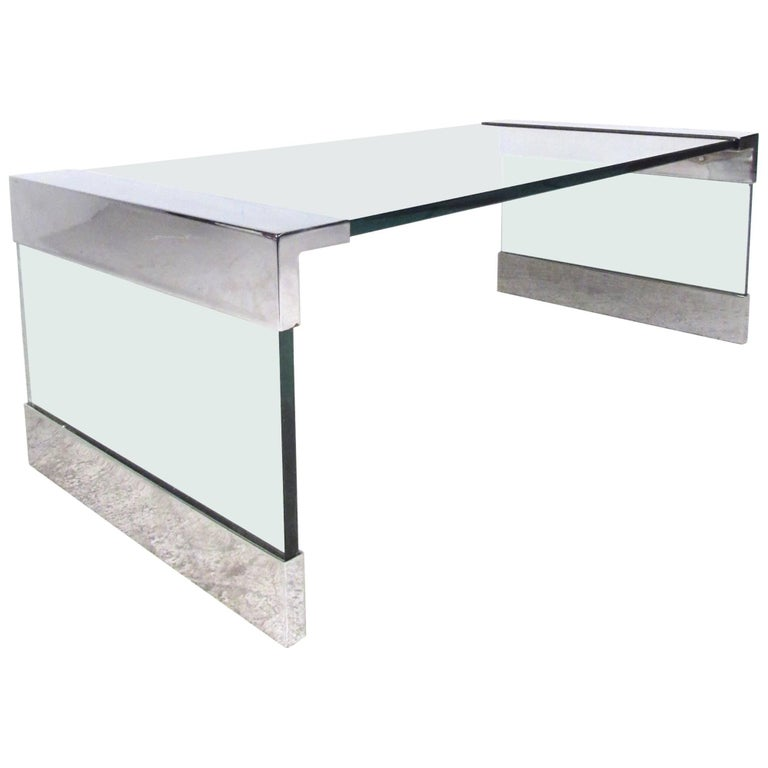 Vintage Chrome and Glass Coffee Table after Pace For Sale