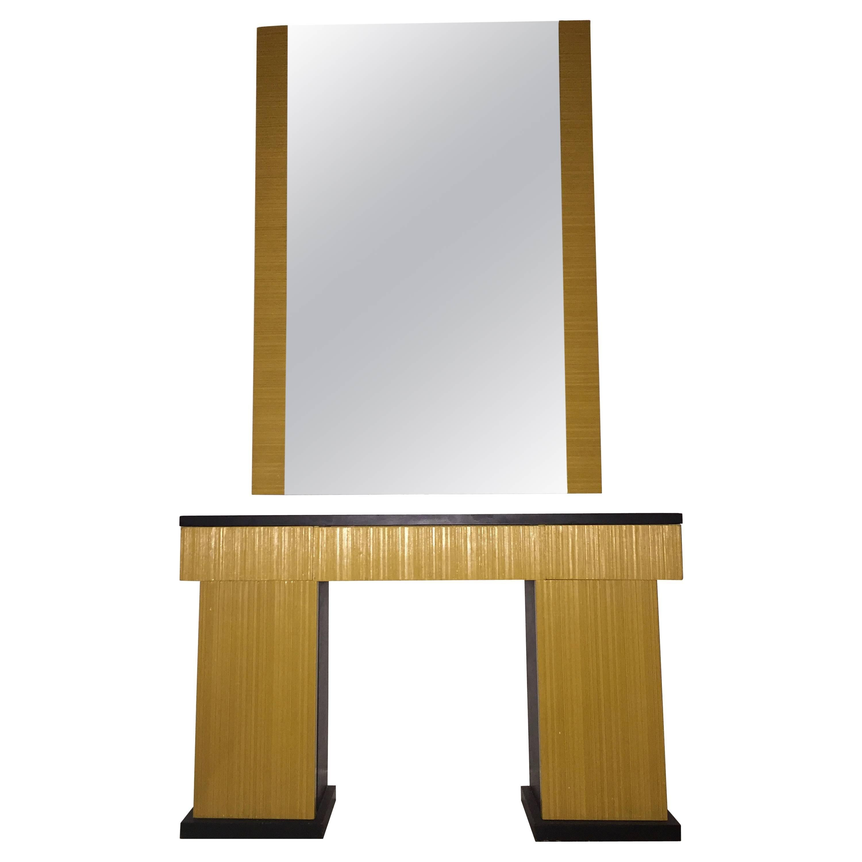 Console with Wall Mirror Designed by James Mont, circa 1935, Made in USA