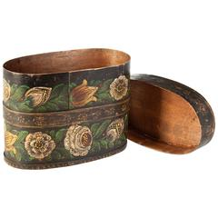 Unusual 19th Century Continental Wooden Oval Box Painted with Flowers