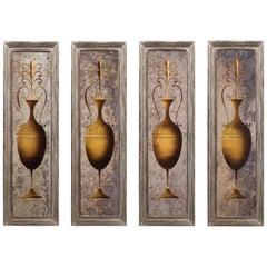 Rare Set of 4 French Verre Églomisé Panels