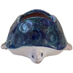 Turtle Ceramic Sculpture by Robert & Jean Cloutier, Signed