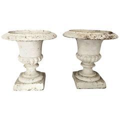 Antique English Cast Iron Garden Urns Regency Style