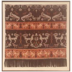 19th Century Framed Indonesian Ikat Art from Steve Chase Palm Springs Estate
