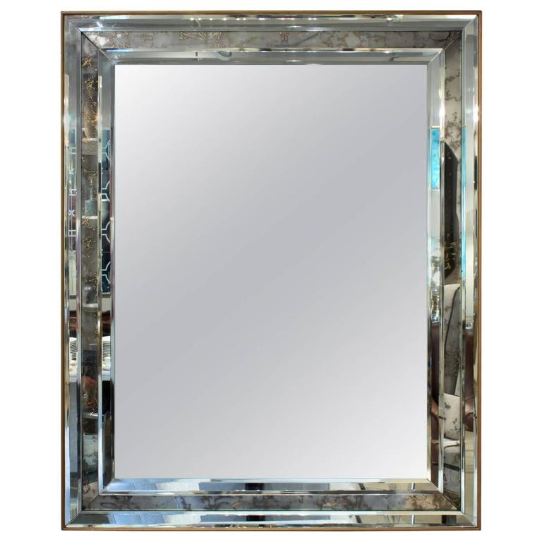 Large Wall Hanging Mirror Framed with Antiqued Mirror at 1stdibs