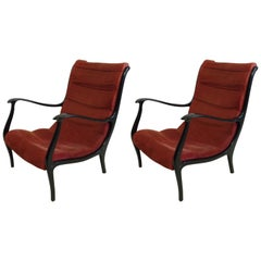 Elegant Pair of Italian Mid-Century Modern Lounge Chairs in Style of Gio Ponti