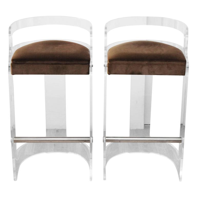 Pair Of Hill Manufacturing Lucite Bar Stools With Lucite