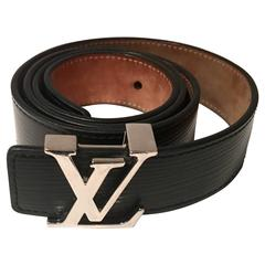"Louis Vuitton ""LV"" Chrome Logo & Epi Leather Belt"