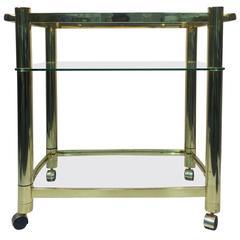 Terrific Three-Tier Brass Tea Cart in the Manner of Milo Baughman