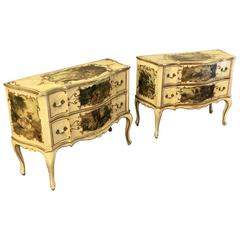 Pair of Antique Venetian Serpentine Hand-Painted Commodes with 10 Artworks