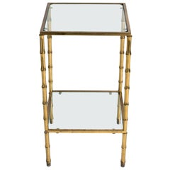 1950s Brass Faux Bamboo Two-Tier Side Table