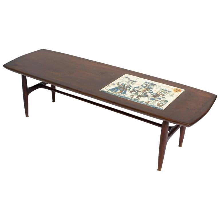 Alvin Hollingsworth Tile Top Teak Coffee Table