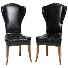 Pair of Parzinger Style Wingback Chairs