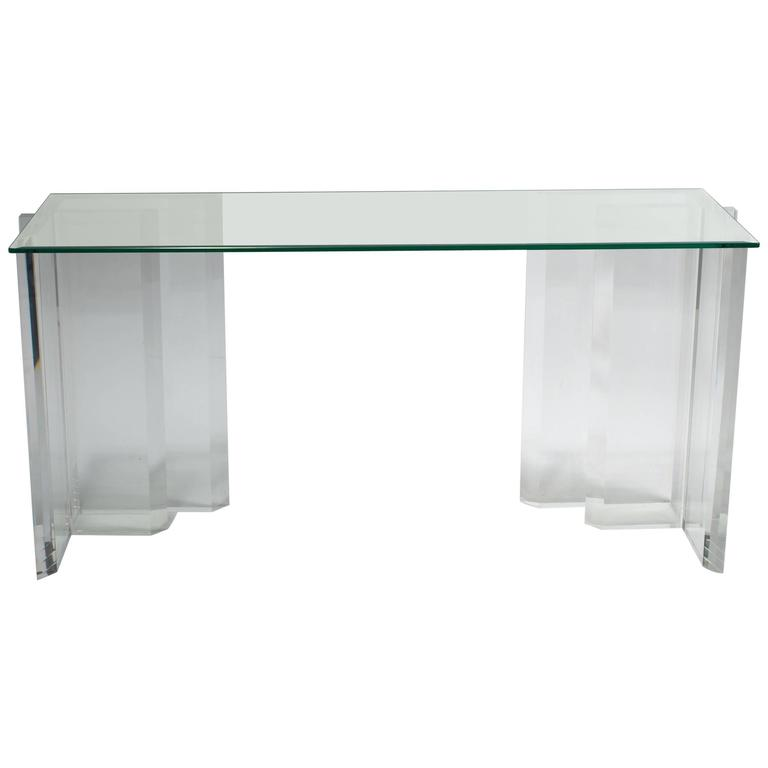 Lucite Console with Beveled Glass Top 1