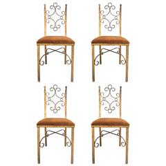 Four French Wrought Iron Gold Gilt Chairs Manner of Gilbert Poillerat
