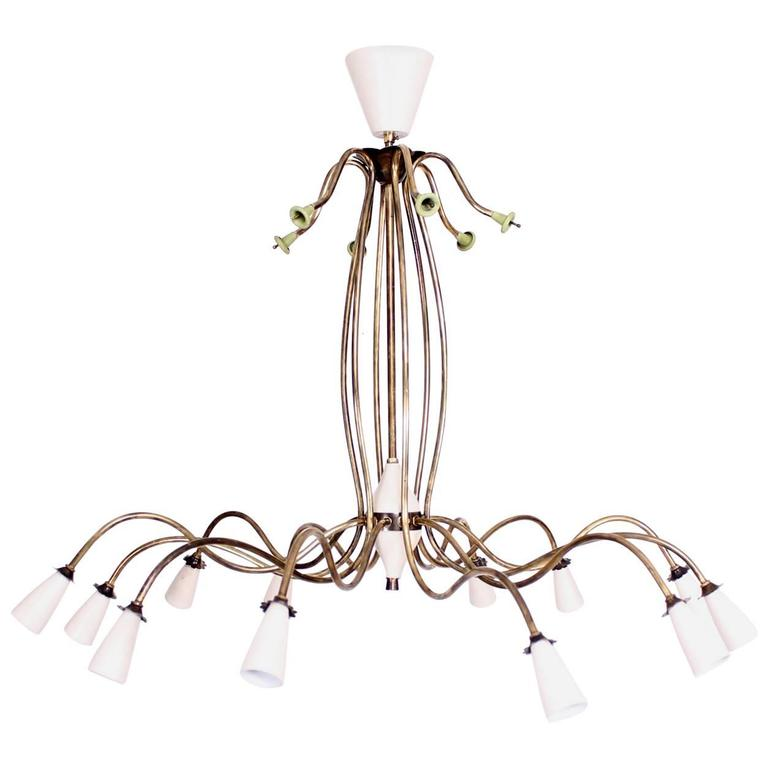 Mid century modern elegant chandelier 12 arms for sale at 1stdibs - Artistic d lamp shade designed with modern and elegant shape style ...
