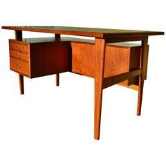 Unique Kai Kristiansen Teak Architectural Desk with Back Display Shelves