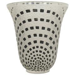 """René Lalique """"Damiers"""" Vase Black Enameled"""