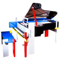 New Modern Art German Grand Piano, Luxury Handmade Fenner B Mondrian Colored