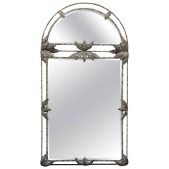 Monumental Palm Frond Motif Hall Mirror