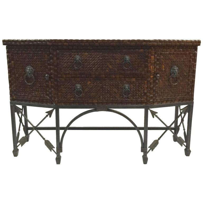 1970s Inlaid Coconut Shell & Hammered Copper Sideboard by Maitland-Smith