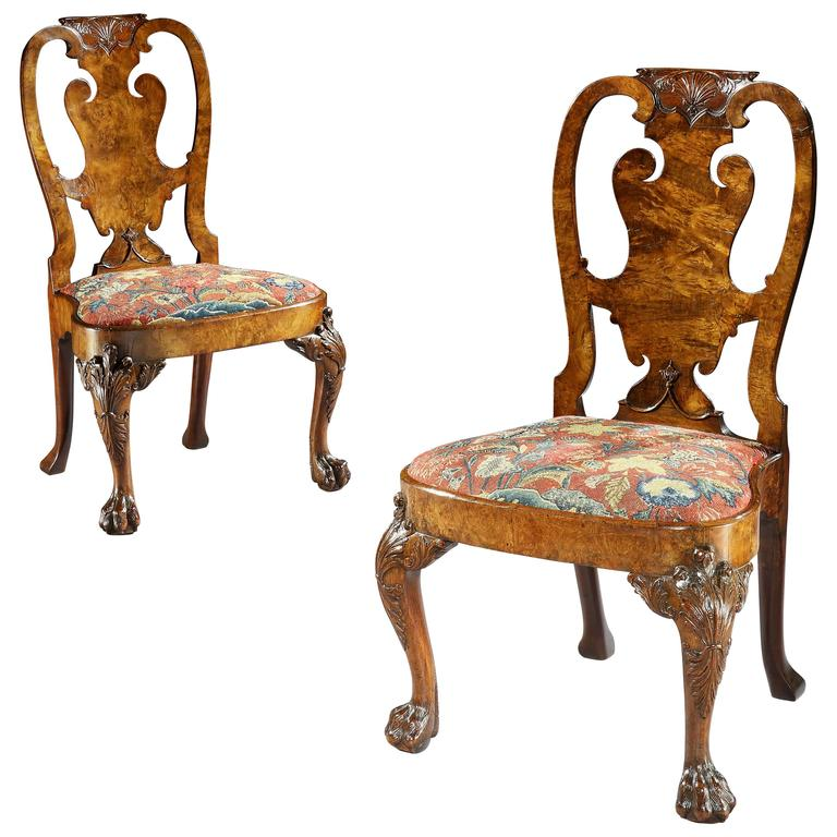 Pair of George II Burr Walnut and Figured Walnut Side Chairs For Sale