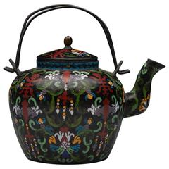 Fine Antique Chinese Qing Cloisonné Wine Pot Marked Tong Shun Tang, 19th Century