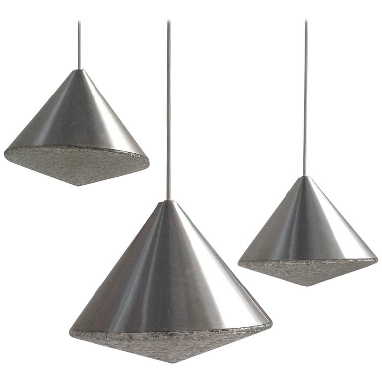 Three Beautiful Glass Chandeliers Cone Shape, Anno, 1970 1