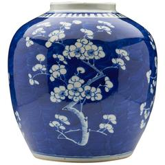 Large Antique Chinese Kangxi Mark Blue & White Hawthorn Jar, 19th Century