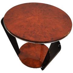 Art Deco Side Table with a Burl Wood Veneer